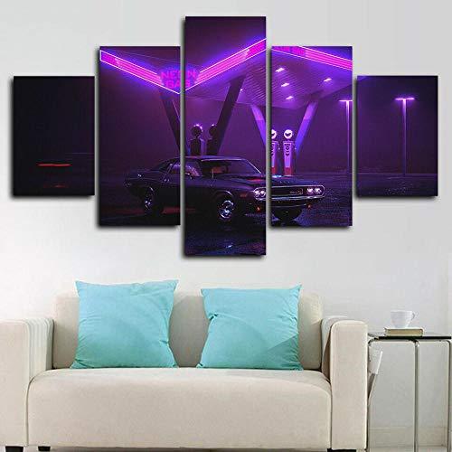 Cuadro en lienzo abstracto moderno impresión de 5 piezas Cargador 1970 Neon Muscle Car Hd Lienzo Decorativo para Tu Sala De Estar Dormitorios Decoración para El Hogar