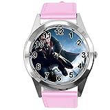 TAPORT® Reloj Analógico Cuarzo con Banda de Cuero Real Rosa Redondo para los fans de Harry Potter E1