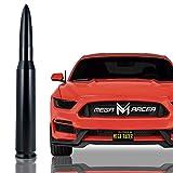 Mega Racer 50 Cal Bullet Antenna for Cars - 5.5 Inch Universal AM/FM Radio, 6061 Solid Aluminum Bullet Car Antenna Anti-Theft Design Car Wash Safe, Black