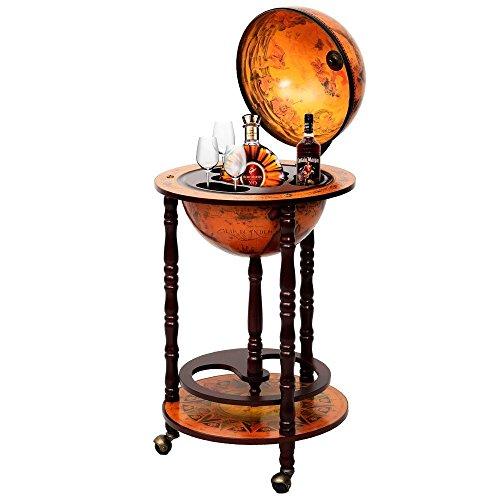 Eminentshop 36' Wood Globe Wine Bar Stand 16th Century Italian Rack Liquor Bottle Shelf New