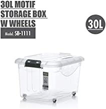 HOUZE Motif Storage Box with Wheels, 30L, (SB-1111-CLEAR)