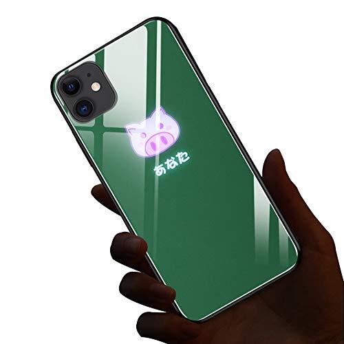ABCase Cerdo y Conejo Animado Manga Creativa de LED se encienden Claro de Nuevo Caso de Llamada entrante Flash Cubierta Resistente a los arañazos para iPhone XR X/XS MAX/XR