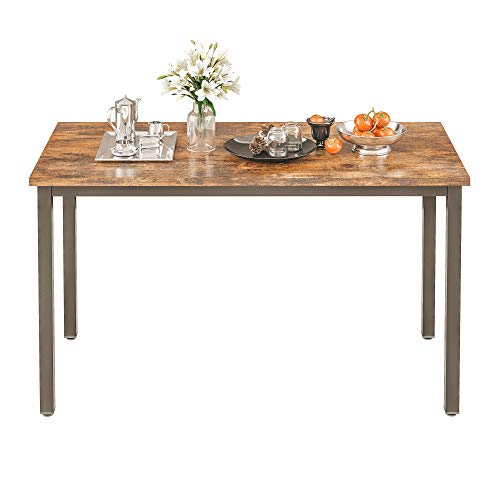 IRONCK Dining Table, Farmhouse Kitchen Table for 4 People, Heavy Duty Metal Frame, Wood Dining Room Table 47 Inch, Rustic Brown