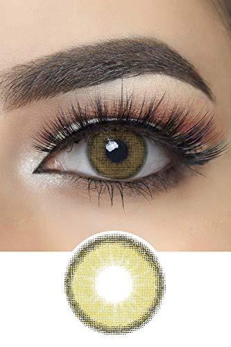 Stark deckende natürliche Canna Roze Farbige Kontaktlinsen Natürlich Aussehend 1 Paar (2 Stück) I DIA 14.00 I ohne Stärke I 0.00 Dioptrien (Olive Green)