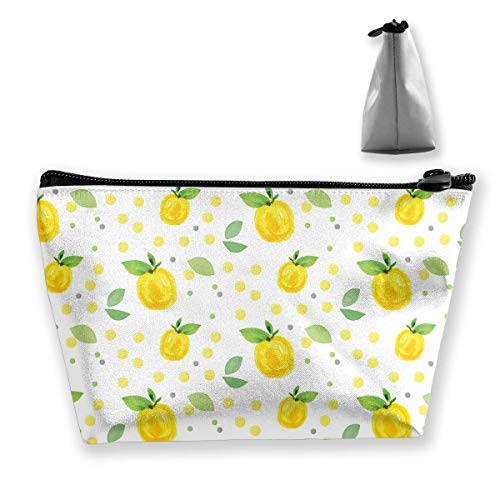 Cute Makeup Bags for Women Travel Toiletry Bag Makeup Bag Cosmetic Citrus Yellow Leaves Portable Cosmetic Bag Mobile Trapezoidal Storage Bag Travel Bags with Zipper