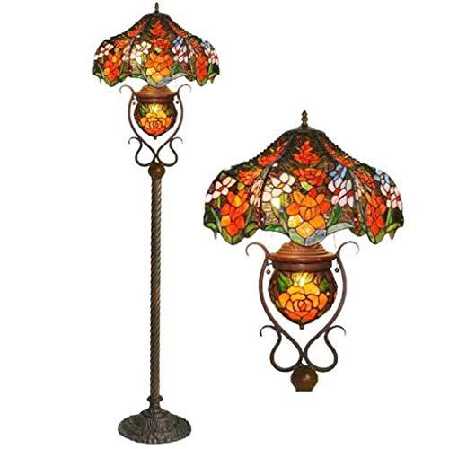 Lámpara de pie de estilo Tiffany de 18 pulgadas, retro, creativa, para salón, dormitorio, decoración de suelo, cristal, sala de estudio, lectura, máx. 60 W