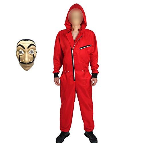 Yigoo Haus des Geldes Kostüm Overall mit Dali Maske Cosplay für Herren, Damen Erwachsene - Fasching, Karneval, Halloween Rot