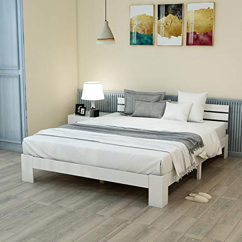 Autolock Holzbett Doppelbett aus Bettgestell Holzbett mit Kopfteil mit Lattenrost - Massivholz FSC Massivbett Doppelbett nutzbar als Bett Kiefer inkl. Rückenlehne - 200 x 140 cm (Weiß)