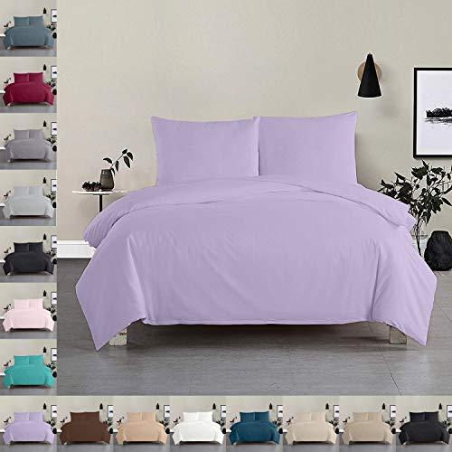 Douceur d'Intérieur - Juego de cama (3 piezas, 200 x 200 cm, 100% algodón), color morado
