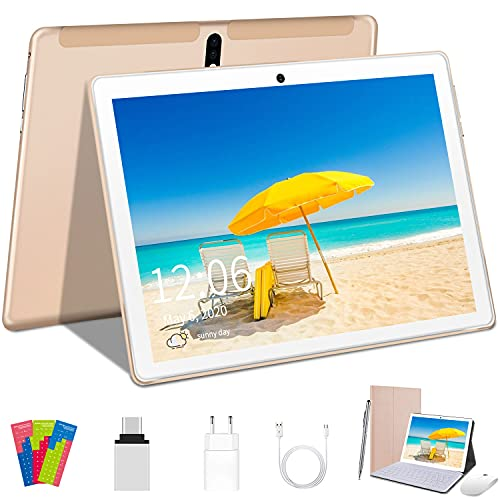 Tablet 10 pollici Android 10.0 4G LTE Quad-Core 4GB RAM 64GB ROM, Dual WiFi, Dual SIM, Bluetooth, GPS,128GB Espandibili, supporto Alla Dad - Dorado