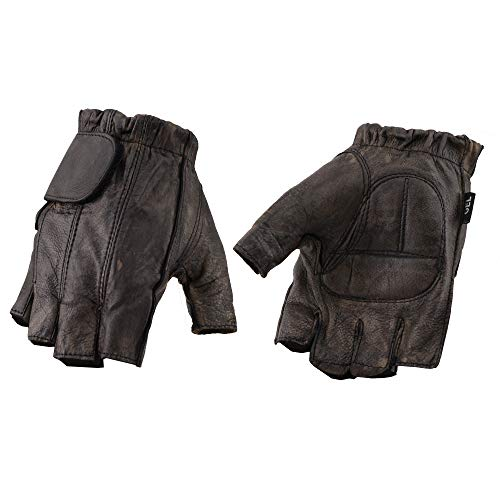 Men's Black or Distressed Brown Full Paneled Leather Fingerless Gloves (3X-Large, Brown)