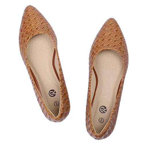 Rekayla Women's Classic Pointed Toe Flats Comfortable Slip on Ballet Flats Shoes PU Brown Size 8