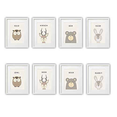 Kinderzimmer Bilder Set Babyzimmer Poster DIN A4 | für Mädchen & Jungen | Baby Tiere | farbig | Babyzimmer | Deko (# Eule Hirsch Bär Hase)