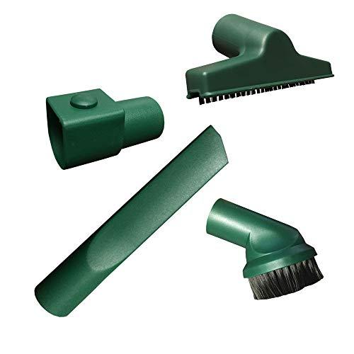 MohMus Düsenset Bürstenset - 4 teiliges Set (Möbelbürste + Polsterdüse + Fugendüse + Adapter) passend für Vorwerk Kobold VK 118, 119, 120, 121, 122, VK118, VK119, VK120, VK121, VK122