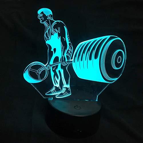 Weightlifter LED 3D Nachtlicht USB Neuheit Innendekoration schöne Emblem Dekoration...