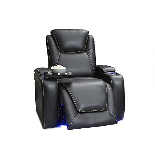 Seatcraft Equinox - Home Theater Seating - Top Grain Leather - Power Recline - Powered Headrest and Lumbar Support - Arm Storage - USB Charging - Cup Holders - Single Recliner, Black