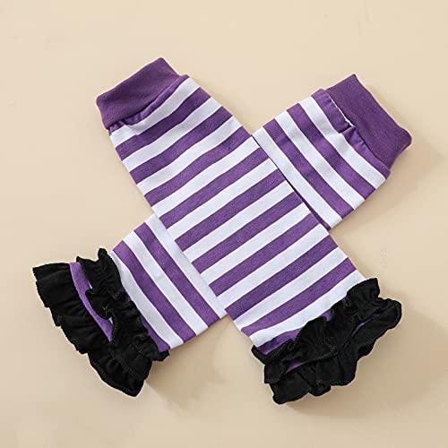 Siyova Halloween - Conjunto de 4 pelele de manga larga con estampado de calabaza, falda de tul + diadema + calentadores para Halloween, violeta, 0-6 meses