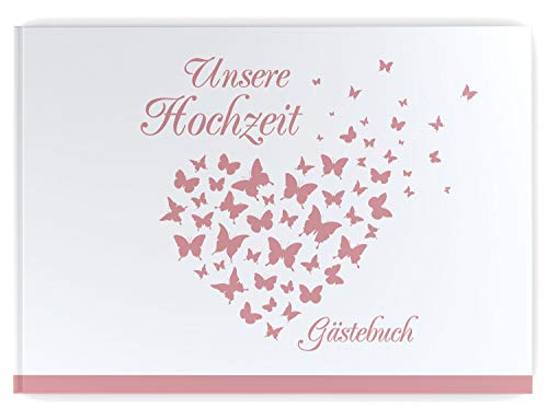 Gästebuch Hochzeit - Hardcover, ohne Fragen, A4 quer, Butterfly Heart (rosé)