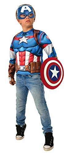 Rubies-Avengers Endgame Captain America Deluxe Costume Top Set Capitan Disfraz, Liso, Color como se Muestra, Normal (G40224)