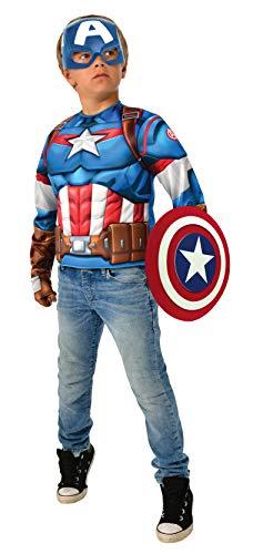 Rubies-Avengers Endgame Captain America Deluxe Costume Top Set Capitan Disfraz, Liso, Color como se Muestra, Normal (G40224)