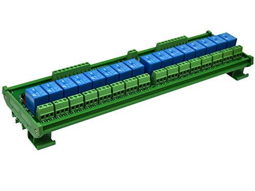 ELECTRONICS-SALON DIN Rail Mount 16 SPDT Power Relay Interface Module, 10A Relay, 48V Coil.