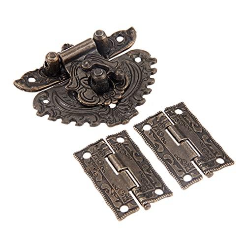 LULIJP Gabinete bisagras 3 unids/Set Latch HASP Toggle Hebilla + Bisagras Antiguo Bronce De Decoración Retro Muebles Armario de Hardware Armario