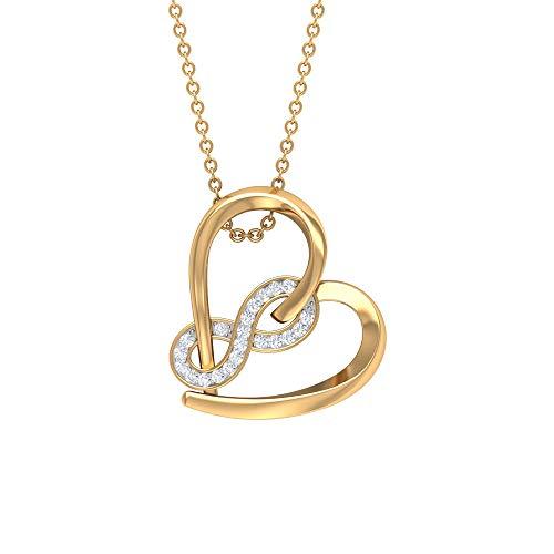 Colgante de corazón de diamante infinito para mujer (calidad AAA), Metal, Diamond,