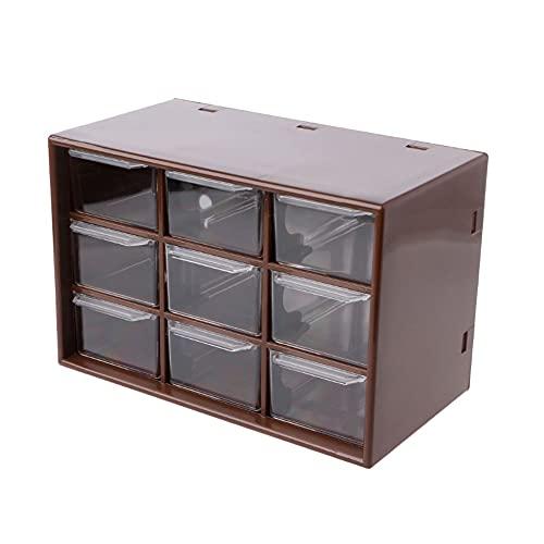 SHYPT Nuevo 9 cajón de plástico Gabinete de Almacenamiento de Escritorio Bandeja de Escritorio Banda Joyería Organizador de Escritorio (Color : Brown)