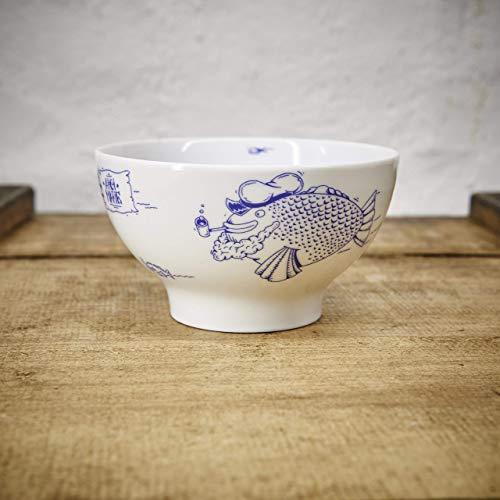 Porzellan Schale - Handgemacht von Ahoi Marie - Motiv Fischschwarm - Maritime Müsli-Schüssel (14cm) - Dessertschale original aus dem Norden