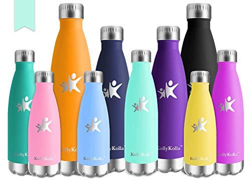 KollyKolla 500ml Thermobecher BPA-Frei Edelstahl Trinkflasche für Kinder, Auslaufsicher, Kohlensäure geeignet - Kleine Thermosflasche für Sprudel, Sport, Schule, Fitness