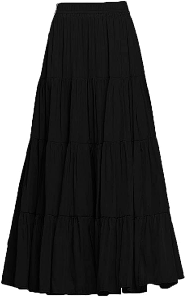 ebossy High Waist Casual Elastic A-Line Solid Pleated Long Skirt