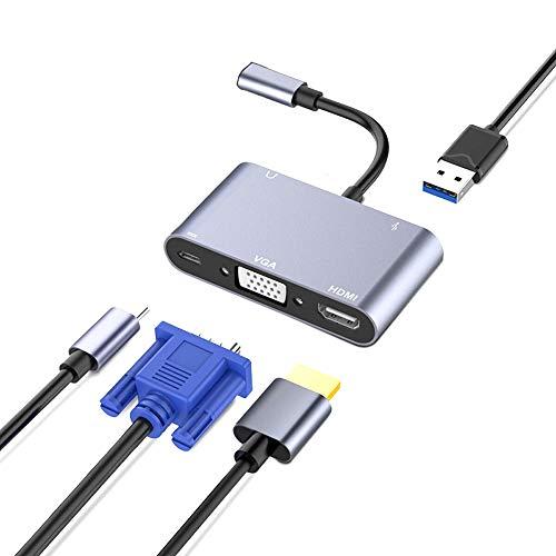 ZXY Cubo de extensión de Plomo con USB, 5 en 1 Tipo de Pantalla Triple Tipo C Adaptador de Acoplamiento HD-MI PD 3.5mm Jack USB3.0 Adaptador Convertidor