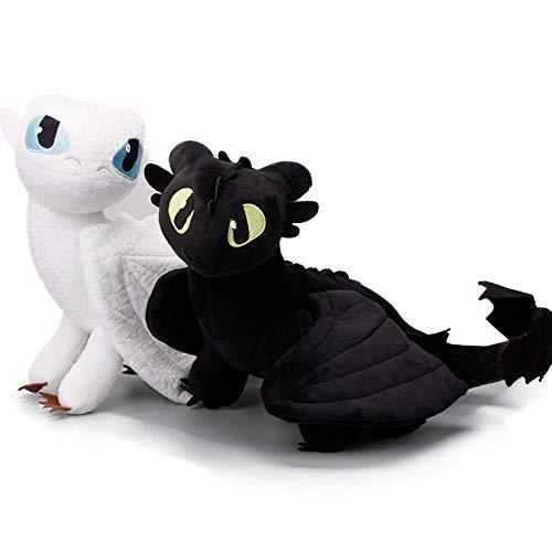 Yppss Dragón de Peluche Juguetes 2pcs / Lot 33cm Hidden World Furia Luz Cómo Entrenar a tu dragón 3 Juguetes de Peluche sin Dientes Furia Nocturna Relleno Suave muñecas Dragón Eternal