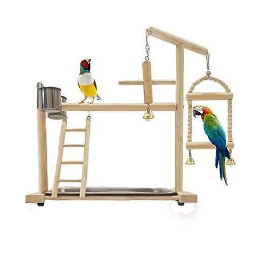 Papagei Spielplatz Vogel Spielplatz Nymphensittich Spielplatz Holz Barsch Gym Laufstall Leiter mit Feeder Cups Spielzeug Übungsspiel
