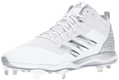 adidas Men's Freak X Carbon Mid Baseball Shoe, White, Silver met, Light Grey, 7 M US