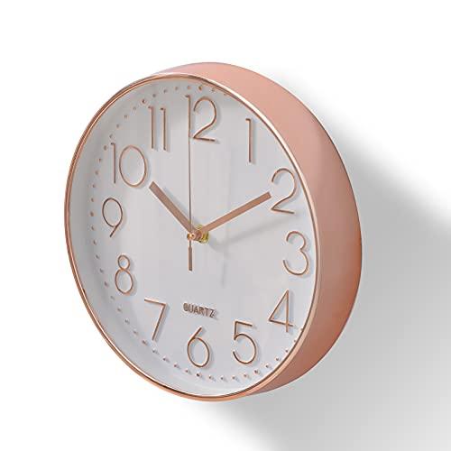 orologio da parete economico Delgeo Orologio da Parete in Oro Rosa,Decorazione da Parete, Moderno Orologio da Parete Silenzioso per Casa Ufficio Cucina (25cm