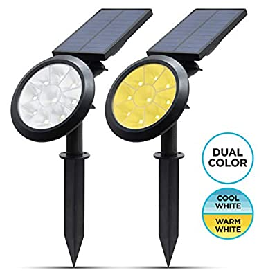 Woodles Solar Landscape Spotlight - IP65 Waterproof - 9 LED Solar Powered Dual Color Adjustable Outdoor Lights - 500 Lumens for a Bright Landscaping Light for Yard, Walkway, and Garden (Pack of 2)