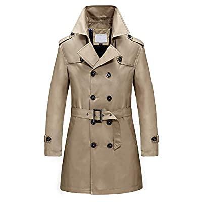 Men's Classic Fit Trench Coat Long Double Breasted Overcoat Outerwear Pea Coat Light Brown by