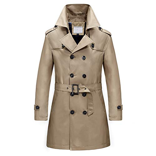 Men's Classic Fit Trench Coat Long Double Breasted Overcoat Outerwear Pea Coat Light Brown