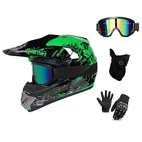 UIGJIOG MTB Helm Fullface Kinder,Motorradhelm Grün und Orange Erwachsener Motorrad Downhill Full Face Helm für Mountainbike Bergbuggy Sport Schutz,Grün