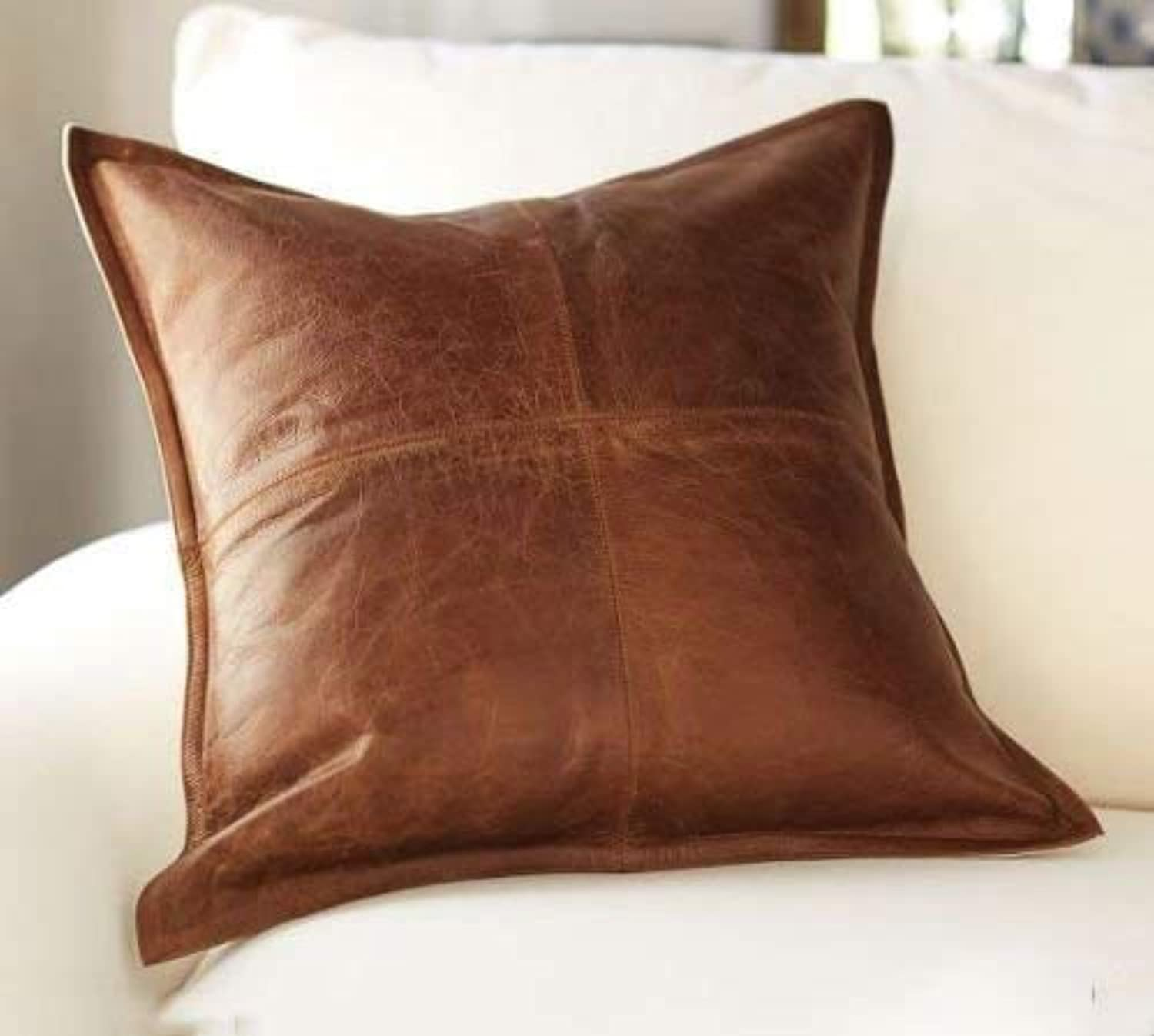 Prim Leather 100% Lambskin Leather Pillow Cover - Sofa Cushion Case - Decorative Throw Covers for Living Room & Bedroom - Box Tan Antique - 20 x 20 Inches Pack of 1