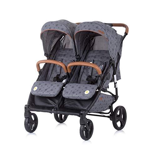 Chipolino Geschwisterkinderwagen Passo Doble klappbar, 73 cm breit, Fußsack, Farbe:grau Sterne
