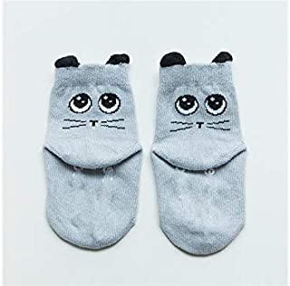 Lovely Socks Children Cotton Socks Kids Spring and Autumn Anti-Slip Big-Eyes Cats Patterns Short Tube Socks (Green) Newborn Sock (Color : Grey)