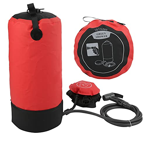 BOLORAMO Outdoor Camping Shower Bag Set, 11L Portable Bath Bag Backpacking Shower Rinse Kit with Shower Head Tube Foot‑Operated Air Pump for Hiking Camping Trekking(red)