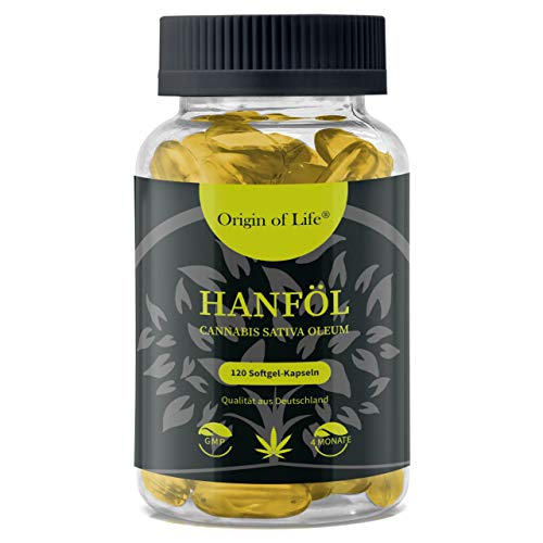 HANFÖL Kapseln - hochdosiert & kaltgepresst | Cannabis Sativa | echte 1000mg je Kapsel |...