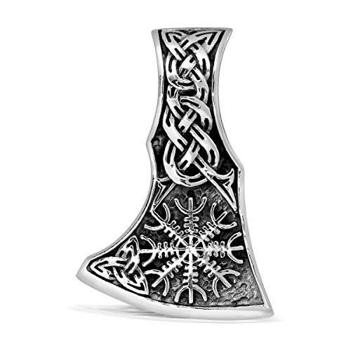 WithLoveSilver 925 Sterling Silver Viking Axe Amulet Slavic Celtic Triquetra Mjolnir Helm of Awe Double Sided Pendant