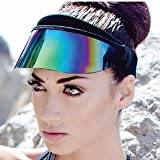 SAINT CHIC Paparazzi Visor 2.0 Sun Hat (Black, Rainbow)