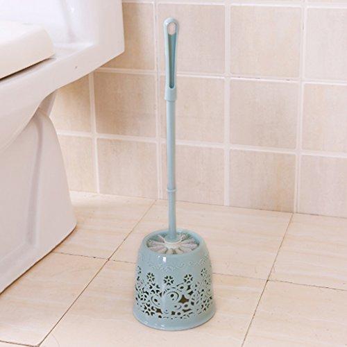 &brosse de toilette Salle de bains Porte-brosse à dents Pinceau en plastique à accrocher Brosse à motif creux Brosse souple Toilette à long manche Brosse à toilette (Couleur : Blue)