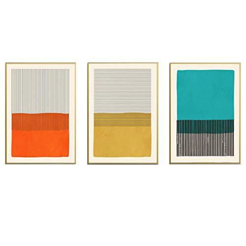 Impresión en lienzo Moderno Multicolor Amarillo Negro Turquesa Abstracto Geométrico Póster Arte de la pared Pintura en lienzo Impresiones Decoración para sala de estar 50x70cm/19.6'x27.5'x3Sin marco