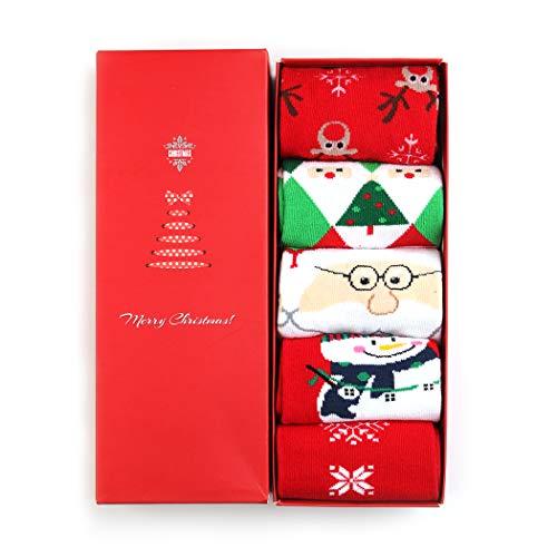 Fansport Calze Natalizie Donna Calzini Natale Donna Calzini Cotone di Natale Caldo Inverno Confortevole Calza con Confezione Regalo (5 paia)